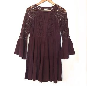 American Eagle Bell Sleeve Lace Mini Dress Small
